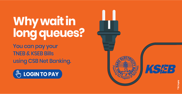 Pay your bills with all new CSB Netbanking